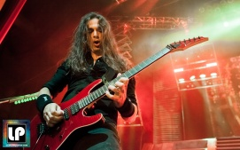 Kiko Loureiro performs with Megadeth at City National Civic in San Jose, CA. Photo by Clay Lancaster.